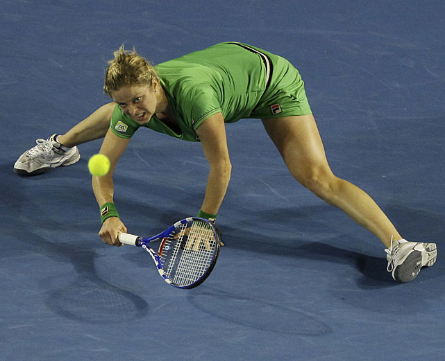 Clijsters stretches for a forehand return to Li.