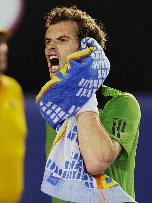 Murray yells in frustration during the match.