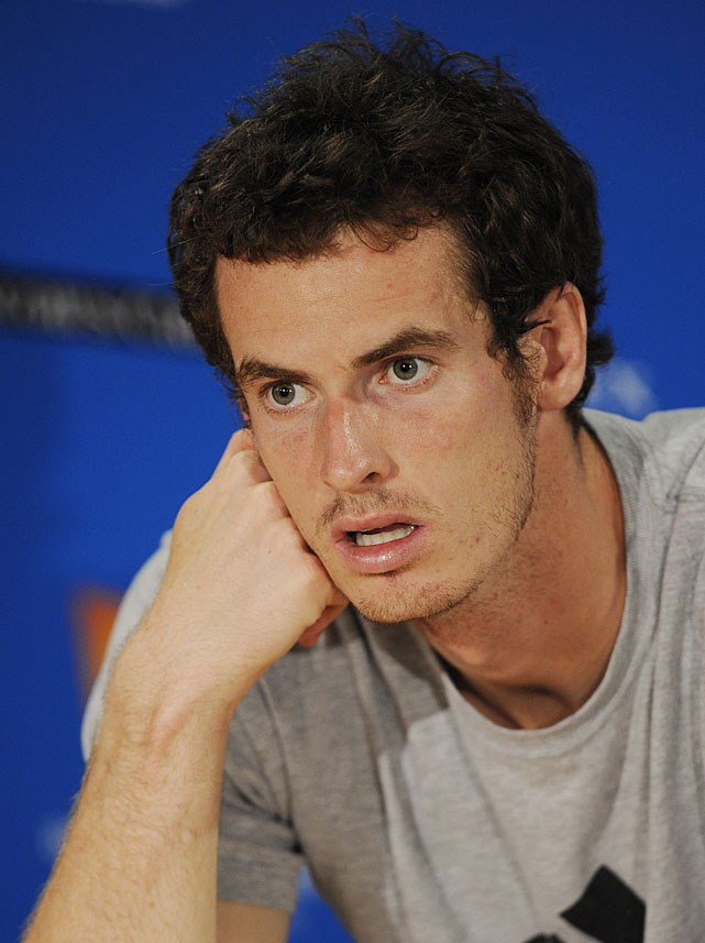 Murray answers questions at the post-match press conference.