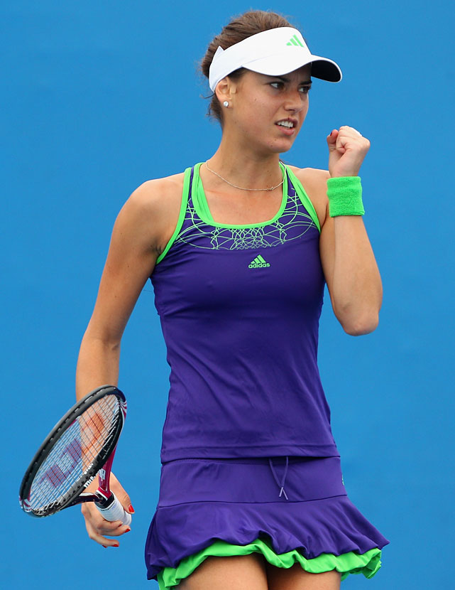 Romania's Sorana Cirstea celebrates her first-round victory over Croatia's Mirjana Lucic.