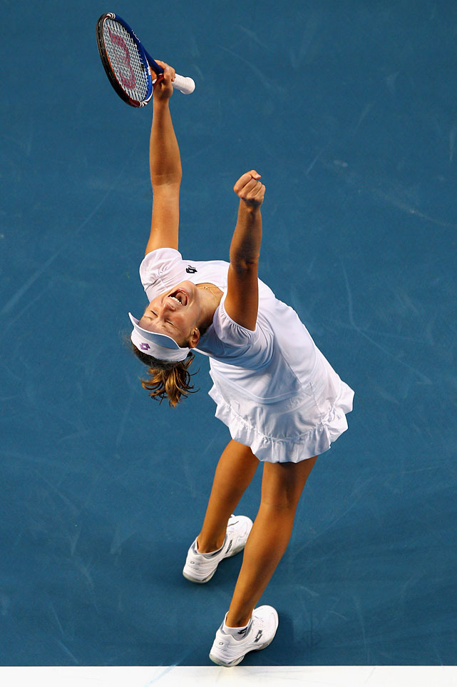 Makarova celebrates after match point against Ivanovic.