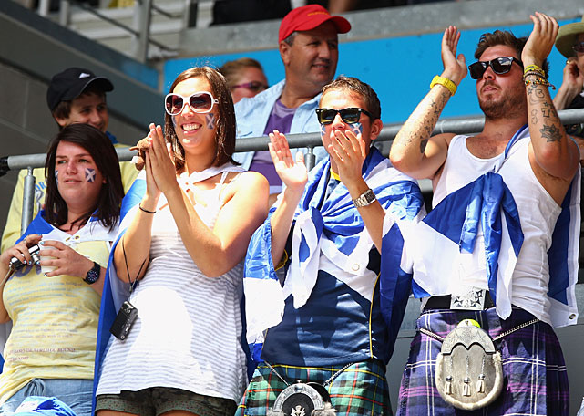 Scottish fans watch Andy Murray's first-round match against Slovakia's Karol Beck.