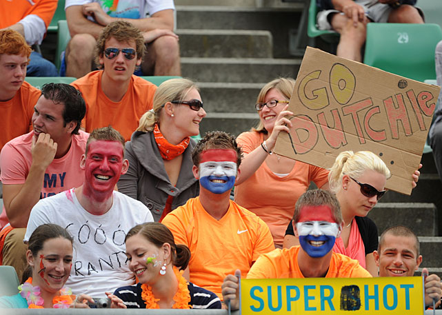 Dutch supporters cheer for Rus during Wednesday's match.