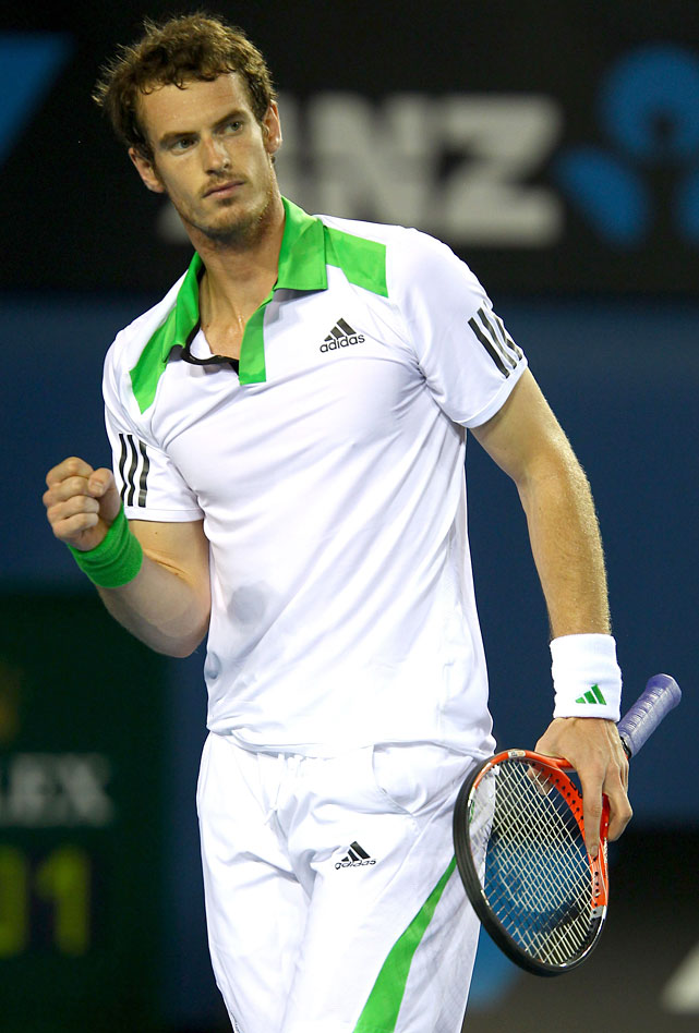 Andy Murray of Great Britain reacts in his second-round match against Illya Marchenko of the Ukraine. Murray won 6-1, 6-3, 6-3.
