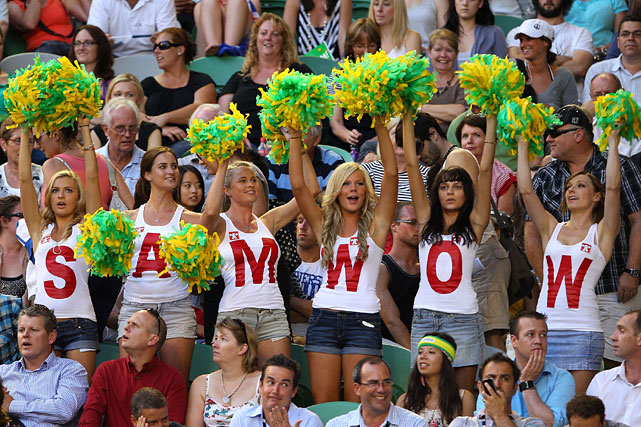 Australian fans support Sam Stosur of Australia in her second-round match against Vera Dushevina of Russia.