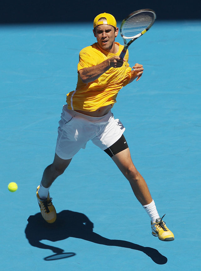 Sweeting plays a forehand against Nadal.