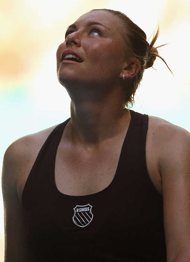 Vera Zvonareva of Russia celebrates match point in her second-round match against Bojana Jovanovski of Serbia.