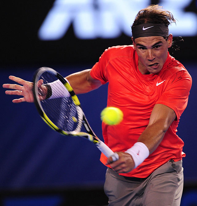 Spain's Rafael Nadal in action against Australia's Bernard Tomic. Nadal won 6-2, 7-5, 6-3.