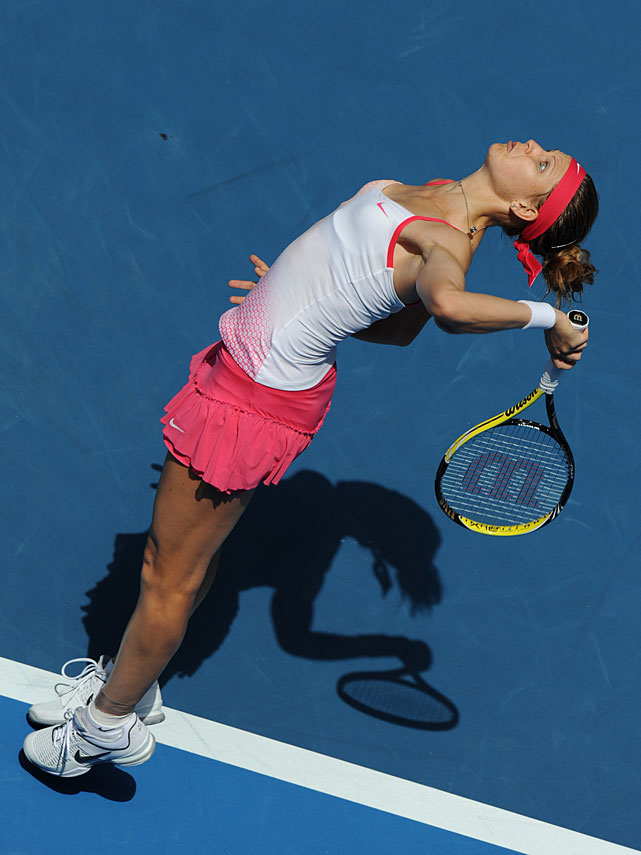 Lucie Safarova of the Czech Republic serves during her third-round match against Russia's Vera Zvonareva on Saturday in Melbourne. Safarova was beaten 6-3, 7-6(9).