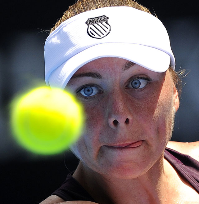 Zvonareva eyes the ball during her match with Safarova.