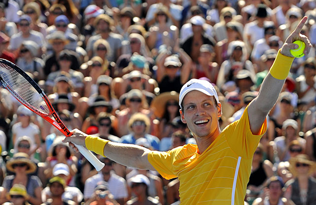 Tomas Berdych of the Czech Republic celebrates after beating Fernando Verdasco of Spain in their fourth-round match. Berdych won 6-4, 6-2, 6-3.