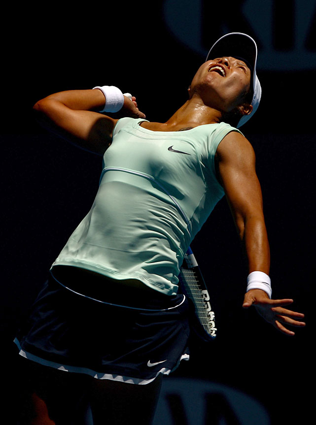 Li, a semifinalist in Melbourne last year, serves to Azarenka.