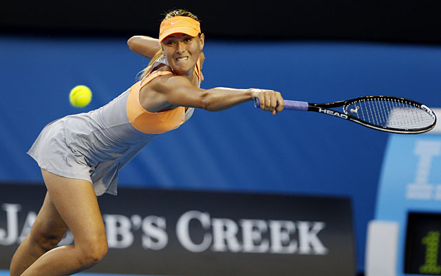 Sharapova reaches for a backhand return against Petkovic.