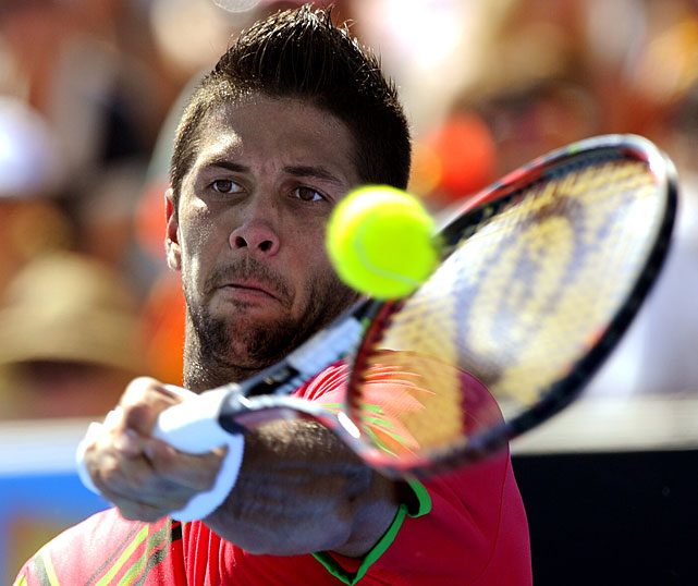 Verdasco returns to Djokovic during Saturday's match.