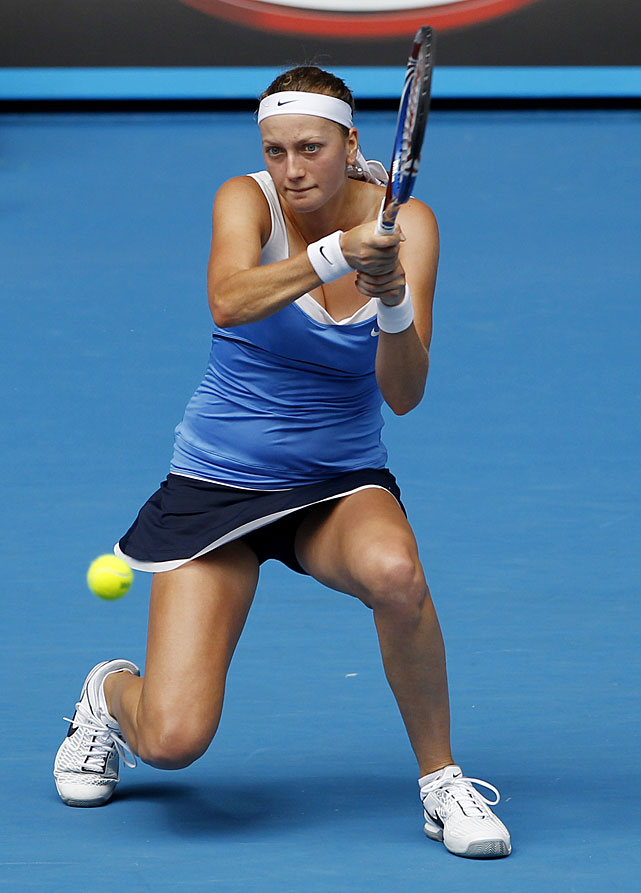Kvitova, who will face Vera Zvonareva in the quarterfinals, makes a backhand return during Monday's victory.