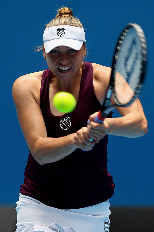 Vera Zvonareva of Russia plays a backhand to Iveta Benesova of the Czech Republic. Zvonareva won 6-4, 6-1.