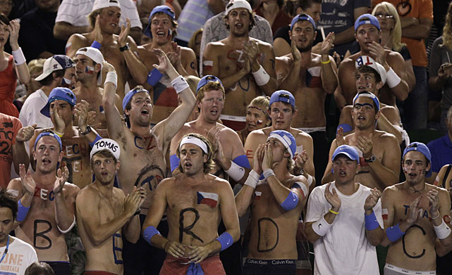 A group of raucous Berdych fans watch Tuesday's match.