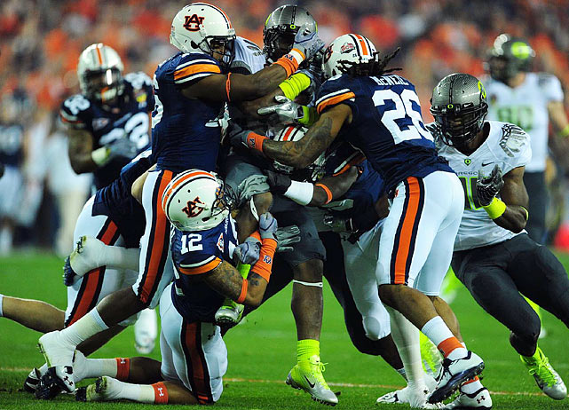 Oregon took a 12-0 record into the title game thanks in part to an explosive running game, but the Ducks had no run longer than 14 yards against Auburn.