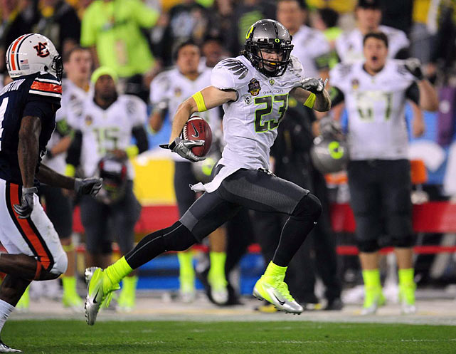 Jeff Maehl's 81-yard reception from Darron Thomas in the second quarter set up Oregon's first touchdown.