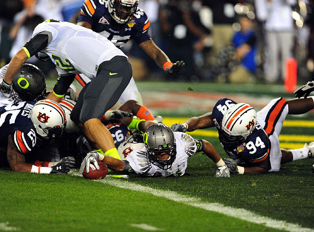 Oregon's LaMichael James is tackled in the end zone for a second-quarter safety that helped Auburn trim the Ducks' lead to 11-9.