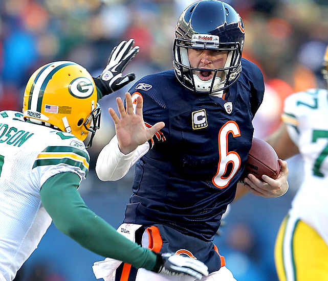 Jay Cutler (knee injury) was one of three Bears QBs (Todd Collins, Caleb Hanie) to play against the Packers. In his first NFC title game, Cutler threw for 80 yards and one interception.