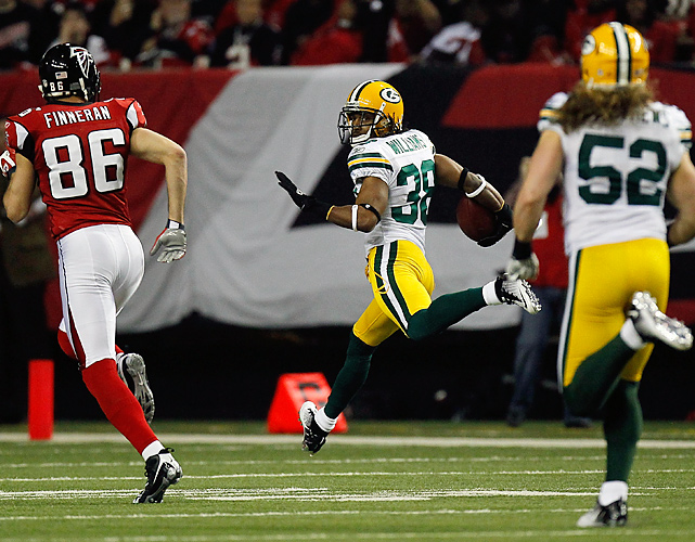 With the Falcons trying to get closer for an end-of-half field goal, Williams made them pay, intercepting a Matt Ryan pass and returning it 70 yards for a touchdown, giving the Packers a 28-14 lead. Williams earlier intercepted a pass in the end zone to thrwat another Falcon drive.