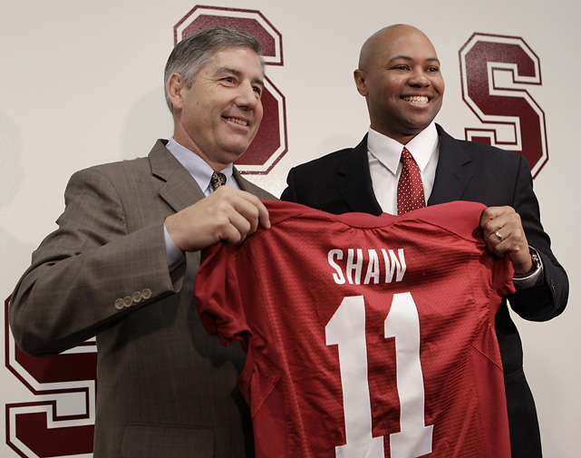 Given the success of Jim Harbaugh's program and the return of star quarterback Andrew Luck, it makes perfect sense for the Cardinal to promote from within. Plus, Shaw is a Cardinal alum who's far less likely to jump to a higher-profile job like Harbaugh. It's a bit risky only in that Shaw is only 38 and the school probably could have landed someone with more experience, but he seems well prepared.