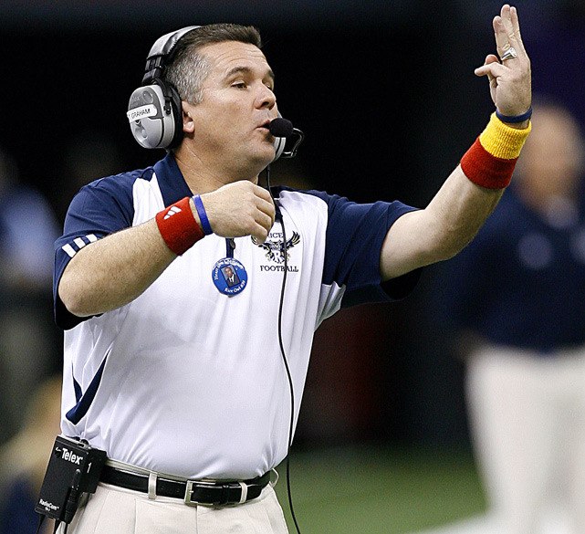 Forced to scramble after having to fire original choice Mike Haywood, Pitt didn't have a lot of attractive options. Graham may well have made the biggest possible splash what with his high-powered offenses and three 10-win seasons at Tulsa. But the first two of those came with Gus Malzahn as his coordinator, the latter with Malzahn disciple Chad Morris. Without either, the Hurricane went 5-7 in 2009.