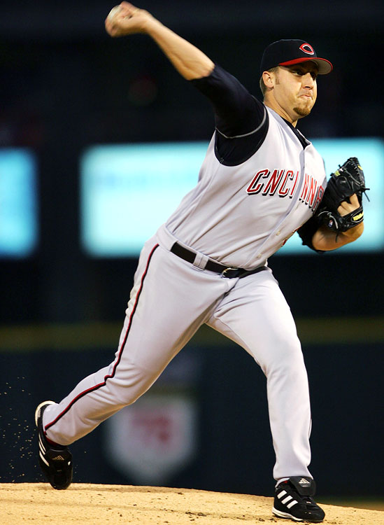 "Aaron Harang took the mound missing the first ""I"" with ""CNCINNATI"" across his chest in a 5-1 loss to the Cardinals on April 12, 2005."