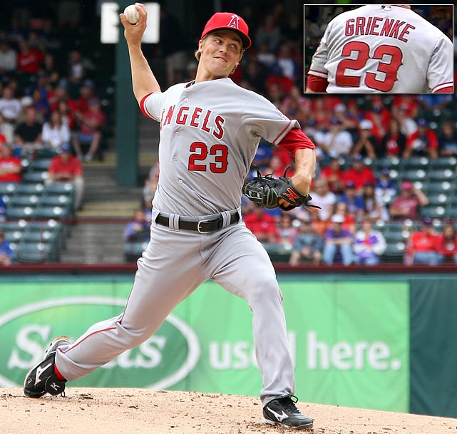 "Angels starter Zack Greinke pitched the first four innings of a game on Sept. 30, 2012 with his last name misspelled on the back of his jersey. Once the Angels staff became aware of the mistake, they had Greinke change jerseys before going out to pitch the fifth. ""I didn't notice. I didn't care, either,"" Greinke said with a smile after the game. ""But they wanted me to change it."" Greinke said it was ""probably partially my fault."" Rather than putting on the jersey hanging in the front of his locker Sunday, Greinke reached into his locker for his second jersey -- and that proved to be the one with the misspelling. His ERA was much better after the change, as the Rangers scored all four of their runs in the game off of ""Grienke"". ""That's right,"" Greinke said. ""We'd have won much easier if it wasn't for him."""