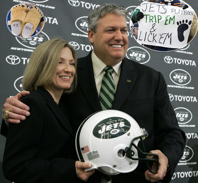 "Deadspin could not get enough of the Jets in 2010. In December, the site posted alleged videos of Rex's wife, Michelle, making foot-fetish videos for the world to enjoy via YouTube. Rex refused to comment on the issue, repeatedly calling the subject a ""personal matter."""