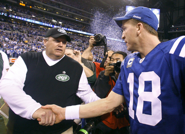 "Even though they'll never face each other man-to-man on the field, head coach Rex Ryan believed the wild-card matchup against the Colts' Peyton Manning was ""personal."" Manning had beaten Ryan in five of their six meetings and Ryan was prepared to exact revenge, which he did with a last-second, game-winning field goal by Nick Folk in the opening round of the playoffs."
