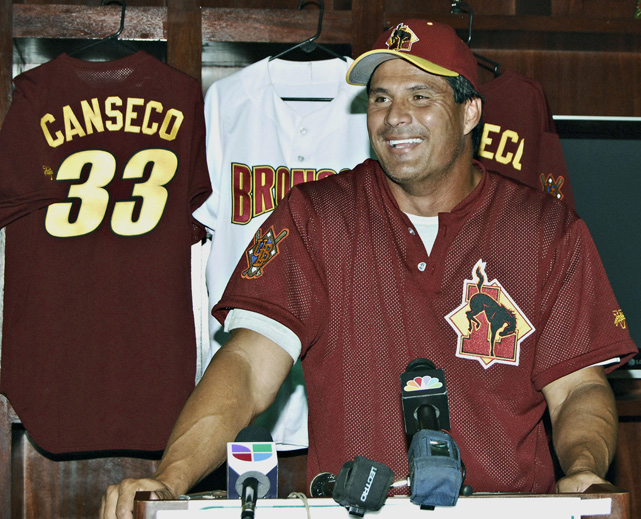 "At 46, Canseco wasn't done with baseball just yet. In August 2010 he signed with the Laredo Broncos, a United League minor league baseball team in Texas. Canseco signed on not only to play, but also to pitch and serve as a bench coach. In his first at-bat, he had a pinch-hit, three run homer. UBL President Bryce Pierce was so enamored with Canseco that he called the signing ""one of the highlights of our league."""