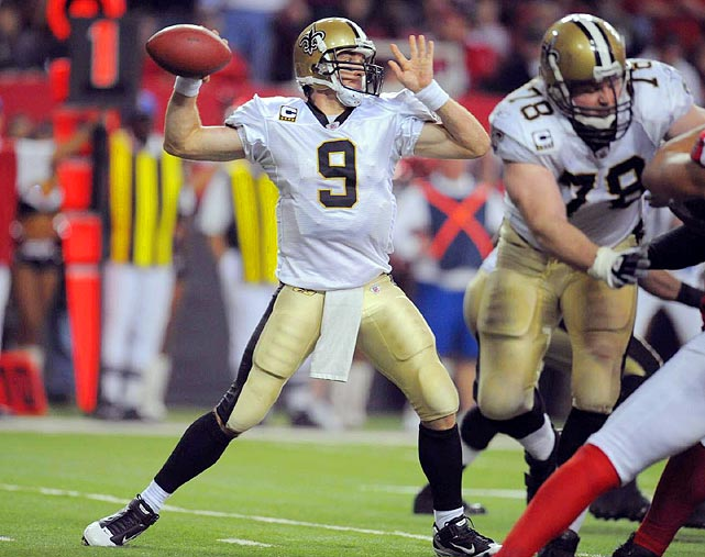 Drew Brees passing against the Falcons on December 27th.