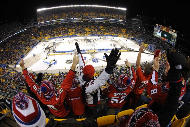 Fans show their support during the Winter Classic game between the Washington Capitals and Pittsburgh Penguins at Heinz Field in Pittsburgh.Washington defeated Pittsburgh 3-1.