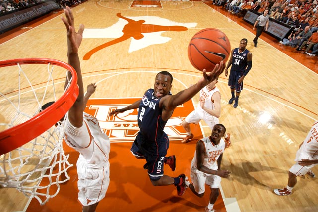 Connecticut guard Donnell Beverly shoots against Texas on Jan. 8 at the Frank Erwin Center in Austin. The Huskies won 82-81 in overtime.