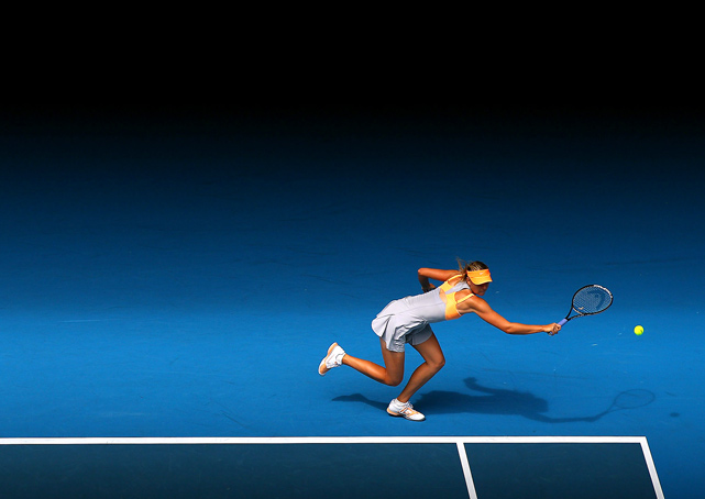 Maria Sharapova plays a forehand during her first round victory over Tamarine Tanasugarn of Thailand on Jan. 17 in Melbourne.