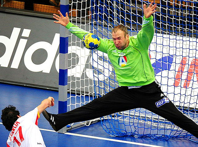 France's goalkeeper Thierry Omeyer stops the ball during the 22nd Handball World Championships in Sweden. France and Spain played to a 28-28 tie.