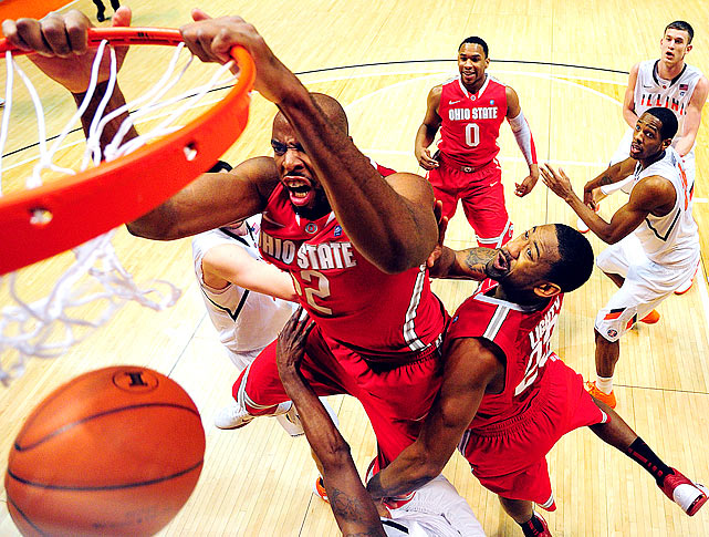 Ohio State forward Dallas Lauderdale dunks during a 73-68 win over Illinois at Assembly Hall in Champaign.
