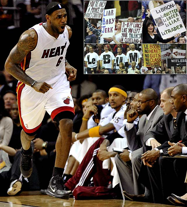 "LeBron's ""Decision"" to join Dwyane Wade and Chris Bosh in Miami left Cleveland fans bitter and angry, none more so than Cavs owner Dan Gilbert. So when James returned to his former home for the first time as a Miami player, fans at the Q, inevitably, took it to him. The signs (""Just like the playoffs: LBJ still now here"") and T-shirts (""LeBum""), the chants (""Akron hates you"") and boos (every time James touched the ball) were all there in abundance on Dec. 2. Unfortunately for Cavs fans, so was James' best showing of the season. The two-time MVP had 38 points, eight assists and five boards in Miami's 118-90 rout."
