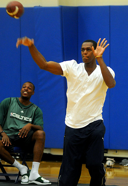Rondo wanted to be a football player from the start. But his mother, worried about the scrawny youngster taking a beating, steered him toward basketball. Momma knew best, because he's now the NBA leader in assists and owns a shiny championship ring from 2008.