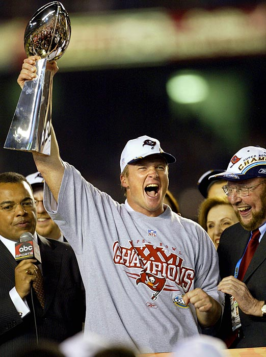 Gruden is the only coach in this gallery to win a Super Bowl in his first season with a new franchise. Before coming to Tampa Bay, Gruden led the Raiders to two division titles, losing to the eventual Super Bowl champs in the 2000 and '01 seasons. The sought-after coach went to the Buccaneers in a landmark deal -- with Tampa Bay forfeiting two first-round picks, two second-rounders and $8 million for Gruden's services. The Bucs' investment paid off with a Super Bowl victory in January 2003 -- against Gruden's old team, the Raiders.