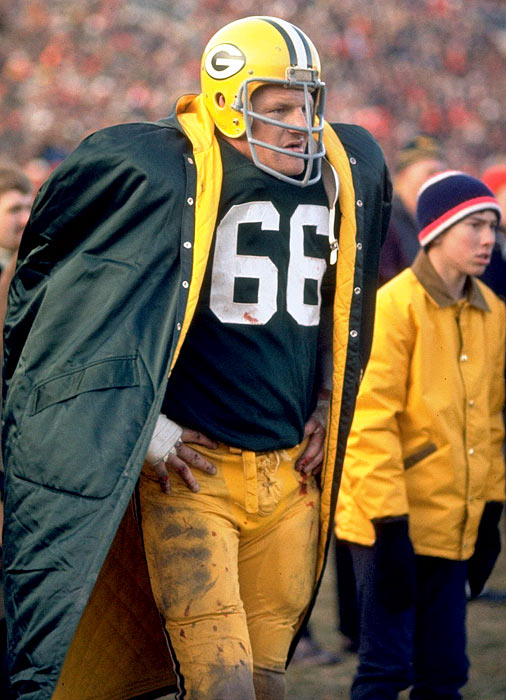 Hard-hitting linebacker Ray Nitschke spent 15 seasons with the Packers and won the MVP award in the 1962 NFL Championship Game.