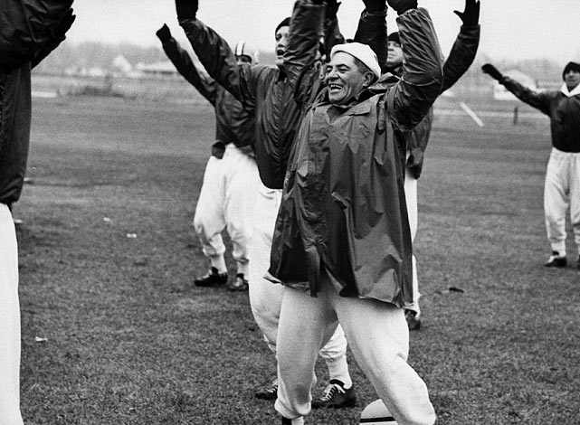 Vince Lombardi jokingly participates in a 1962 practice.