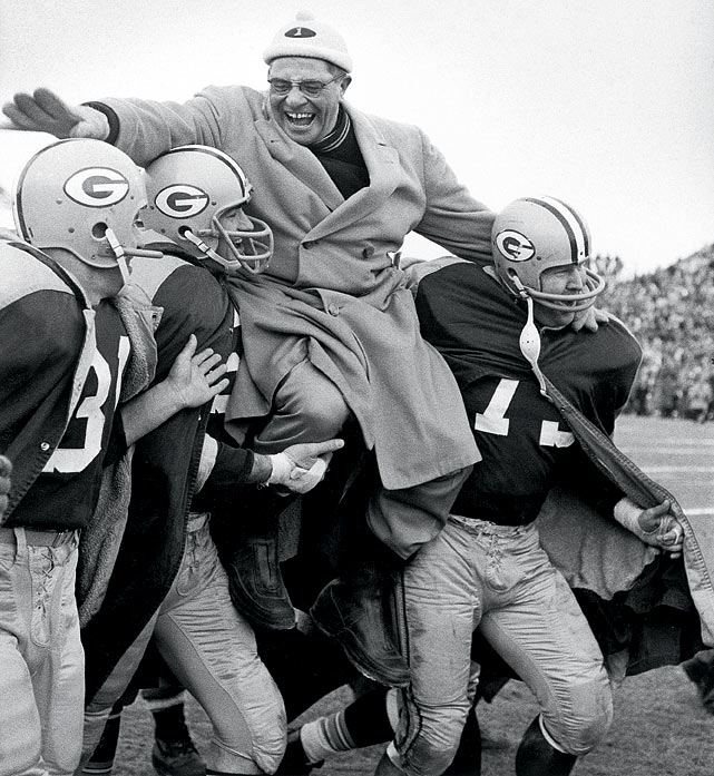 Lombardi made a habit of being carried off the field during his coaching days. Here, Packers players swarm him after the 1961 NFL Championship.