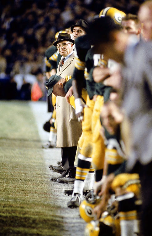 Lombardi surveys the field during a 1967 game. He compiled an 89-29-4 regular-season record with the Packers.