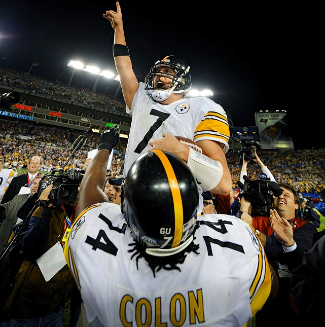 Quarterback Ben Roethlisberger celebrates his second championship.  If Pittsburgh wins Super Bowl XLV, Roethlisberger will join Terry Bradshaw, Joe Montana, Troy Aikman and Tom Brady as the only quarterbacks with three or more Super Bowl victories as a starter.