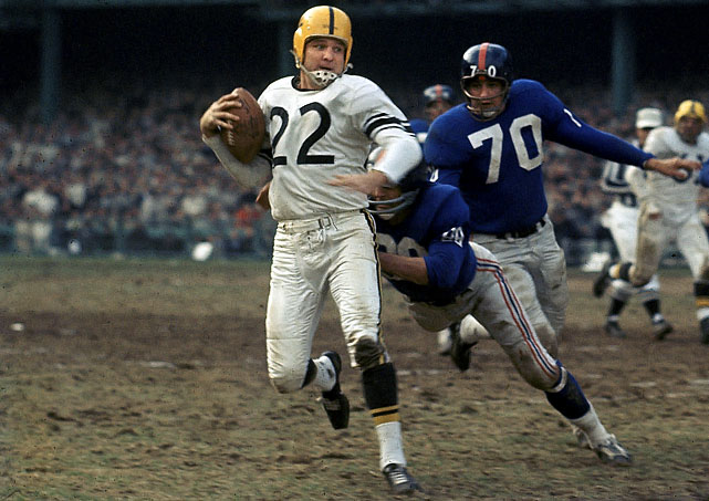 Quarterback Bobby Layne ended  his illustrious 15 years in the NFL by donning the black and yellow from 1958 to 1962. When he retired, he held the record for career touchdown passes, passing yards and completions. He was inducted into the Hall of Fame in 1967.    Send comments to  siwriters@simail.com.