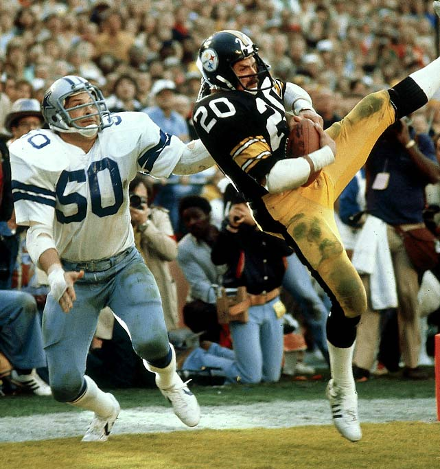 Fullback Rocky Bleier hauls in a seven-yard touchdown catch at the end of the first half against the Dallas Cowboys in Super Bowl XIII. The Steelers and Cowboys have faced off three times in the Super Bowl and Pittsburgh has won twice.
