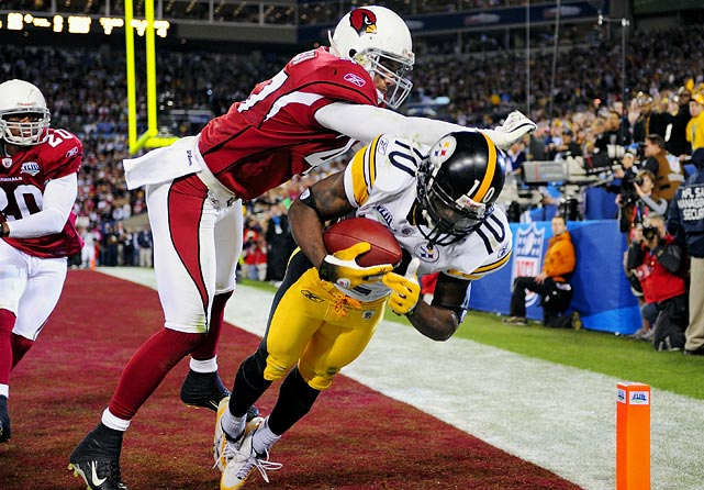 Santonio Holmes got both feet in bounds on this six-yard touchdown catch that gave the Steelers a win over Arizona in Super Bowl XLIII. Holmes caught four passes during the game-winning drive and was named MVP.